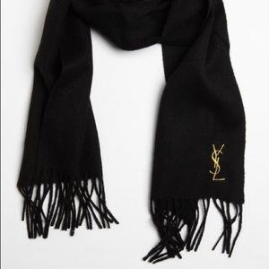 YSL Black Wool Scarf
